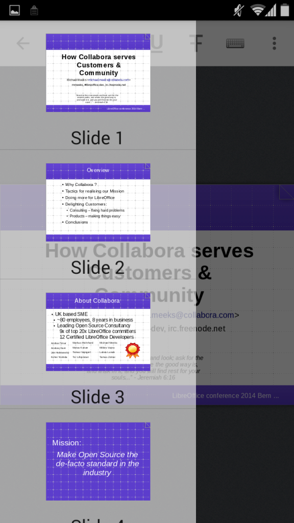 Impress: slide overview in sidebar