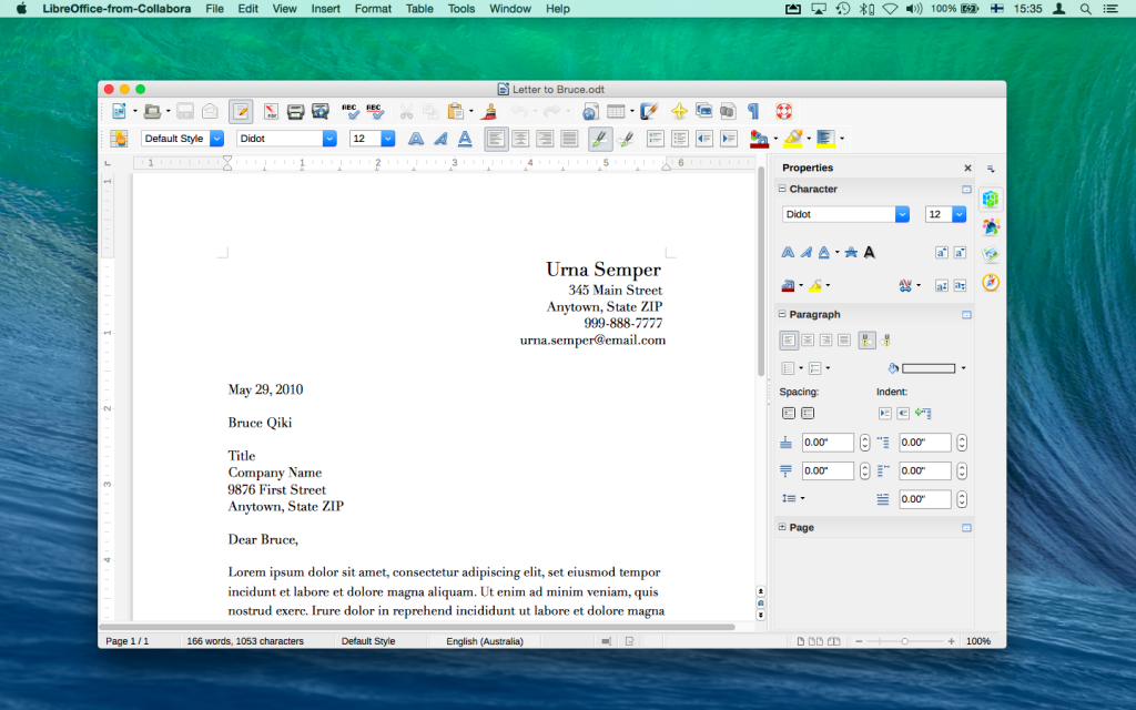 A document in LibreOffice-from-Collabora Writer