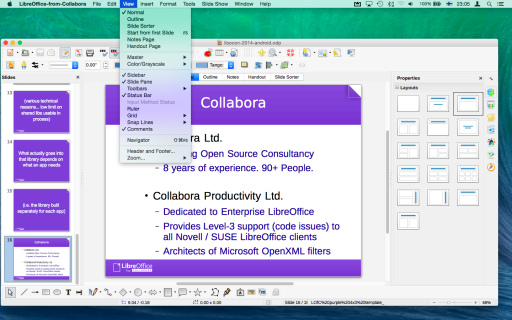 A slideshow in LibreOffice-from-Collabora Impress