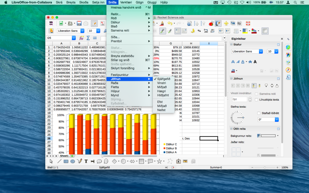 Editing spreadsheets in LibreOffice-from-Collabora Calc