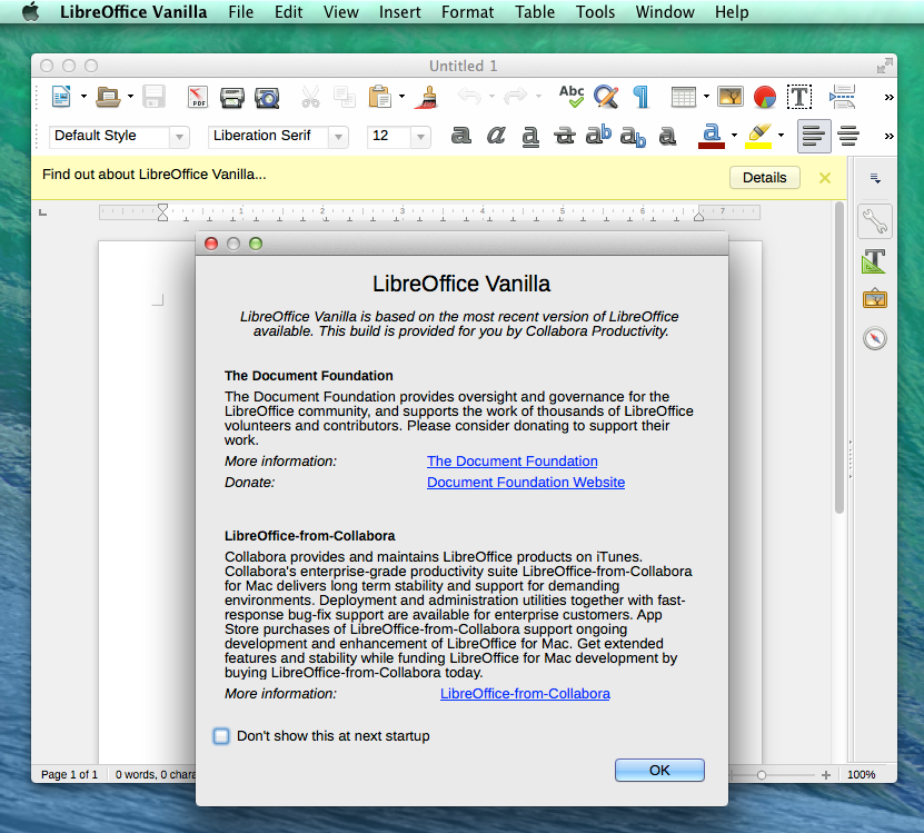 Pop-up window in LibreOffice Vanilla