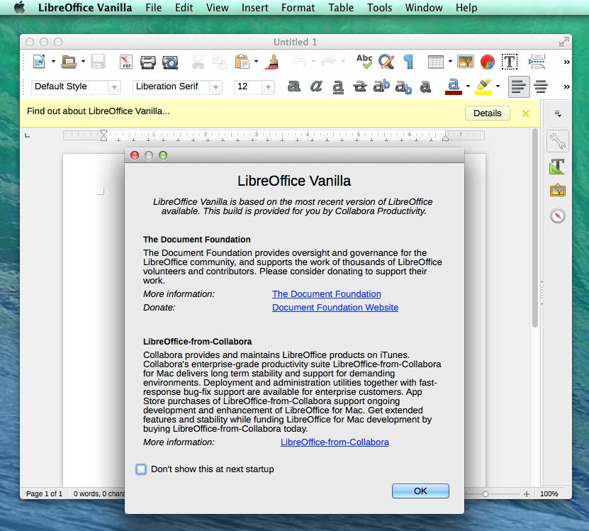 Pop-up window in LibreOffice Vanilla
