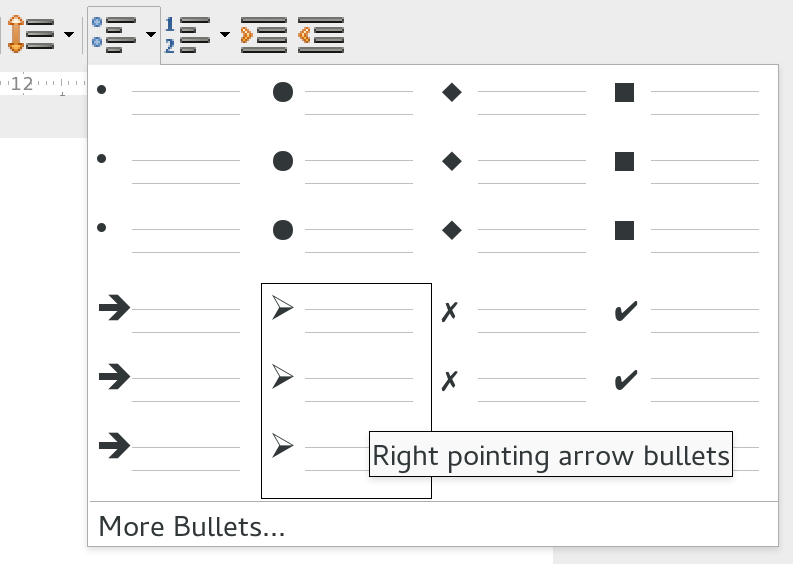 Dropdown bullet point menu