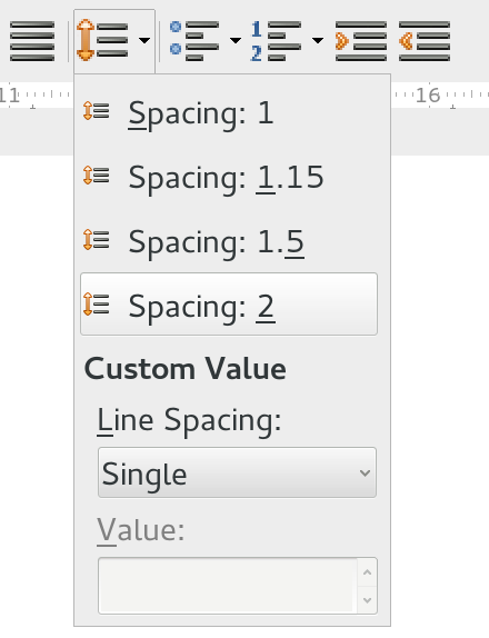 Drop down line spacing menu