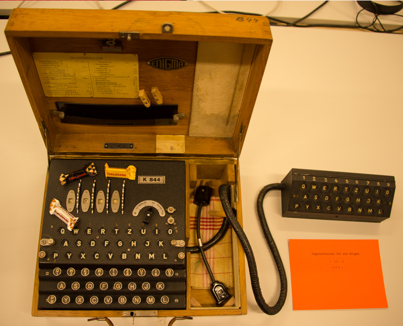 Enigma machine with Toberone chocolate
