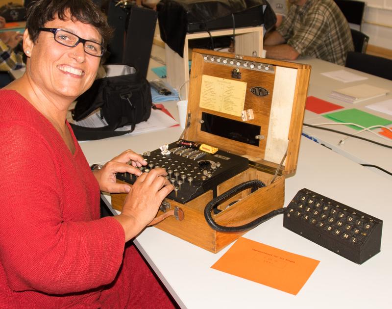 Rhea with a German Enigma Machine