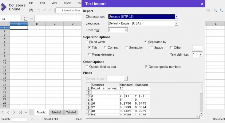 Pasting into calc shows rich CSV import options