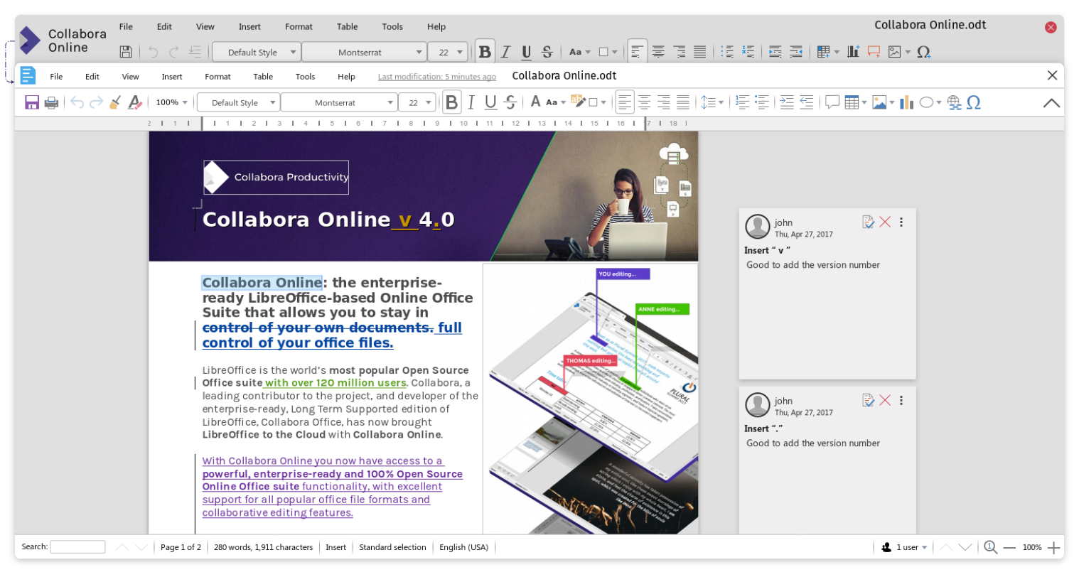 Collabora Online 4.0 Toolbar comparison from Writer