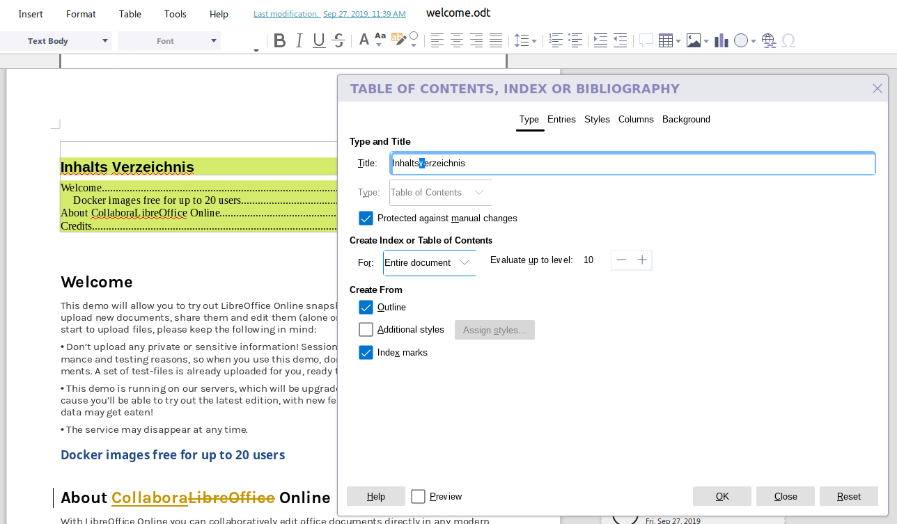 Rich Table Of Content Feature Collabora Online