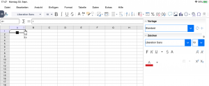 Selection of cells in a spreadsheet