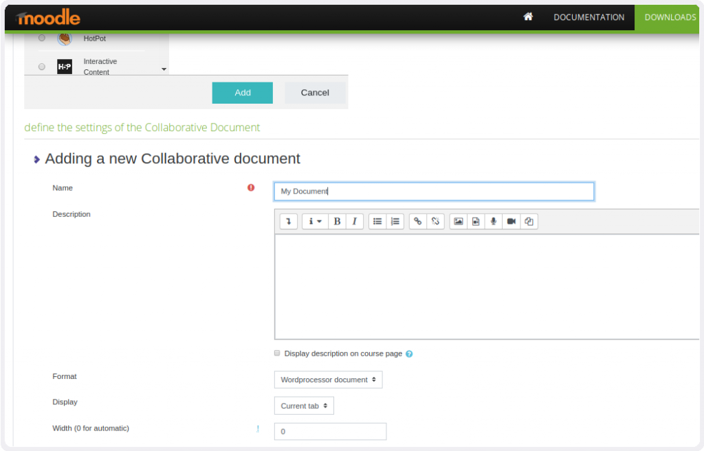 Collabora Online Plugin for Moodle - Add and chose document type
