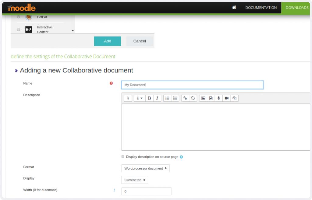 Plugin Collabora Online para Moodle - adicionar e escolher o tipo de documento