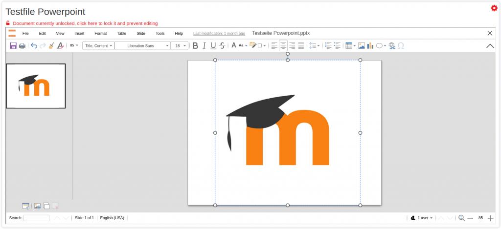 Plugin Collabora Online para Moodle - edição de uma apresentação do Powerpoint
