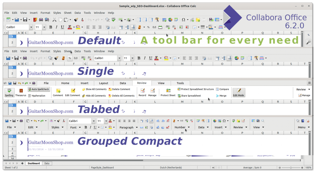 Collabora Office 6.2 - Rich choice in tool bars