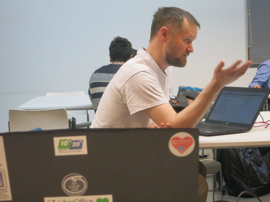 Michael Meeks at the TDF Hackfest in Brussels