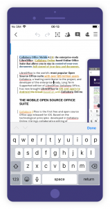 Collabora Office for iOS and Android text document
