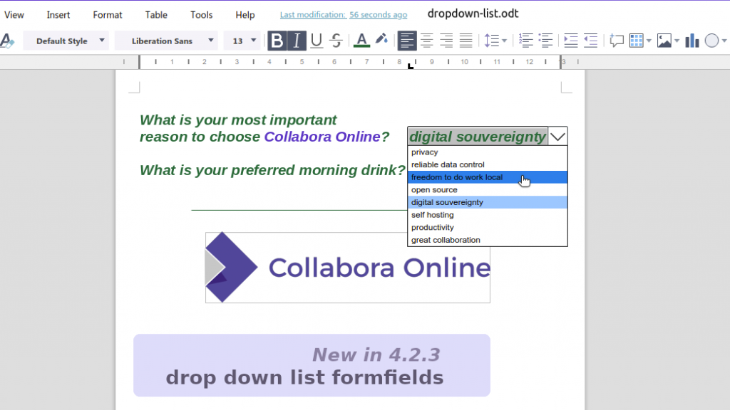 Drop down lists in Collabora Online