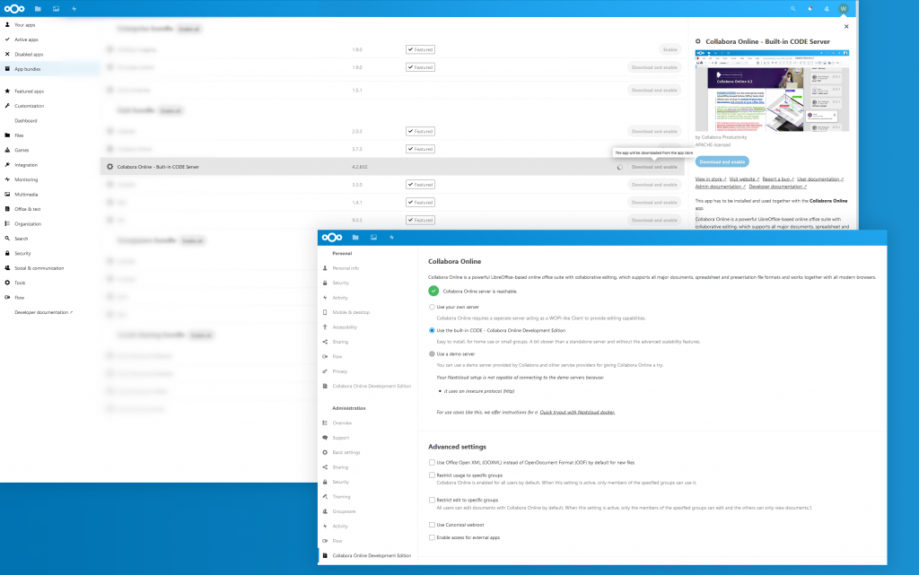 Screenshot of a Nextcloud installation: Install and select CODE-Built-in-server