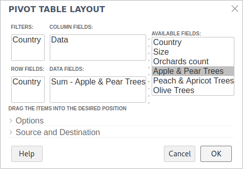 Defining a Pivot Table layout in Collabora Online